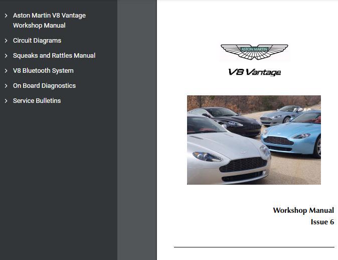 Aston Martin V8 Vantage Workshop Manual Motorcarsoft Com
